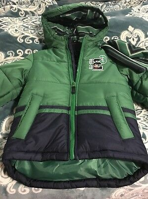 Boys London Dog Coat And Hat Set 4t Green And Blue New With Tag