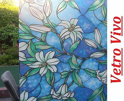 90 CM x 1 M - OCEAN LILY  Reapply/Reusable Static Frosted Window Glass Film