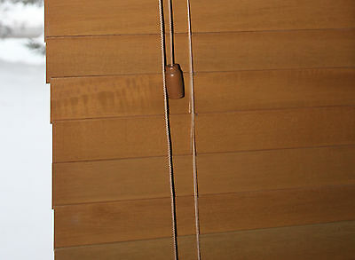 "(5) REAL Wood Blinds Window Shades 21-1/8"" X 62"" Maple Oak Light Brown 2"" Slats"