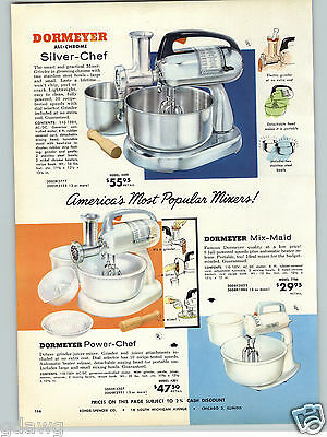 1957 PAPER AD Dormeyer All Chrome Silver Chef Electric Food Mixer Power Chef