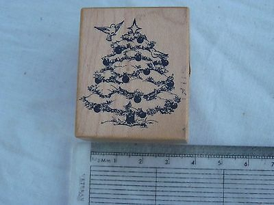 Christmas tree wooden rubber stamp for cardmaking