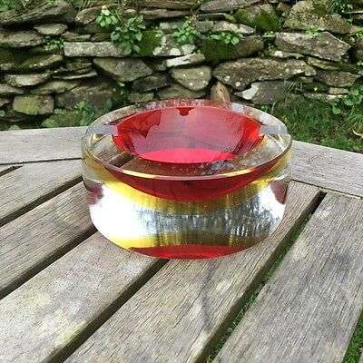Vintage Murano Seguso Circular Ashtray, Red, Yellow & Clear. Flavio Poli