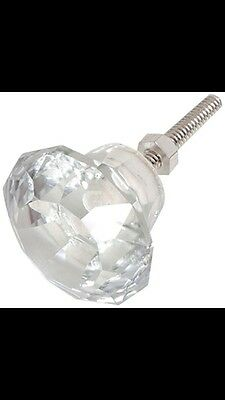 12 Bombay Duck Faceted Glass Crystal Drawer Door Knobs BNWT Vintage Shabby Chic
