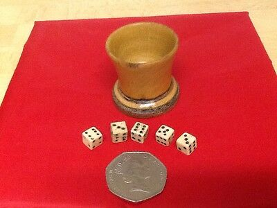 5 Vintage Antique Bovine Bone,Small Gaming Dice & Wooden Shaker.