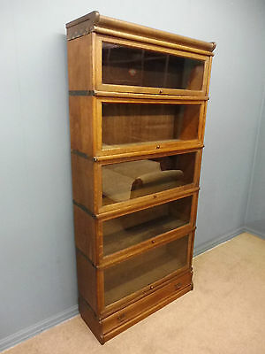 Superb 5 Stack Antique Golden Oak Globe Wernicke Sectional Lawyers Bookcase
