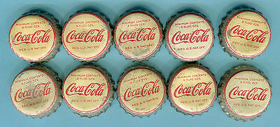 10-LOT of OLD USED COCA COLA SODA BOTTLE CAPS    Used Cork Lining Caps