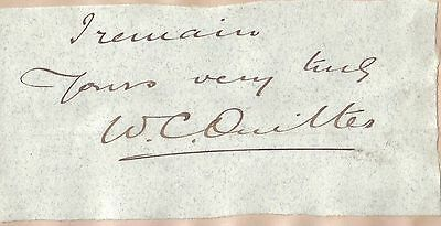 Sir William Cuthbert Quilter - Victorian Liberal MP for Sudbury - orig. sig.