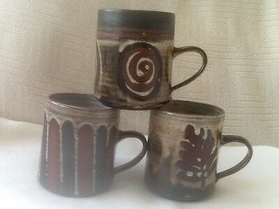 Three Different Designs - Circle, Stripes And Fern Briglin Studio Pottery Mugs