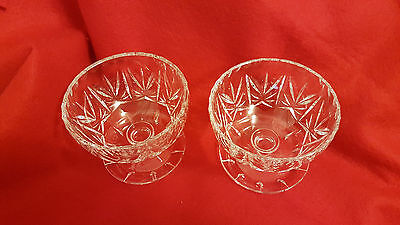 Lovely Cut Glass Crystal Dessert, Ice Cream Or Sherbet Bowls Set Of 2