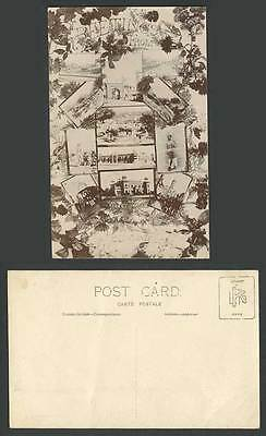 Pakistan Old Real Photo Postcard Greetings From Peshawar Multiview Native Street