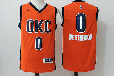 NEW Oklahoma City Thunder #0 Russell Westbrook Swingman Basketball Jersey Orange