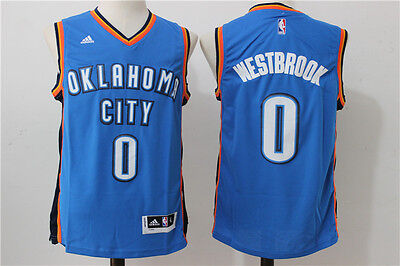 NEW Oklahoma City Thunder #0 Russell Westbrook Swingman Basketball Jersey Blue