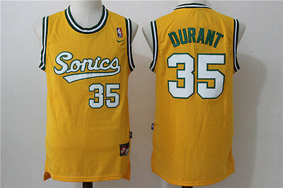 New Seattle SONICS #35 Kevin Durant Retro Swingman Basketball Jersey Yellow