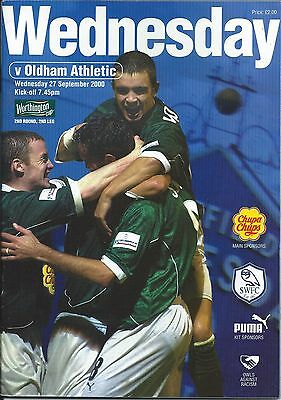 SHEFFIELD WEDNESDAY  v OLDHAM ATHLETIC  27th September 2000 - League Cup