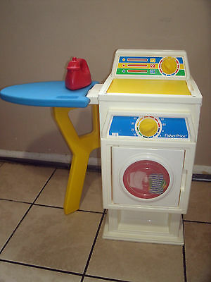 Vintage 1990 Fisher-Price Washer, Dryer & Ironing Board With Iron