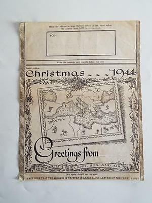Rare World War 2 - Christmas 1944 Allied Forces British Army Post Office Letter