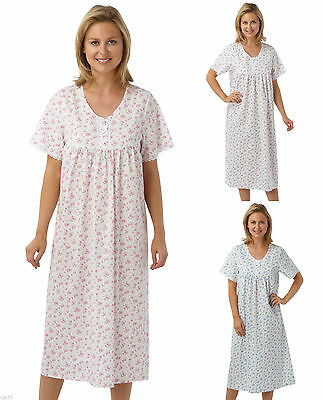 Ladies nightdress nightwear long length floral poly cotton three colours