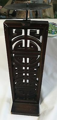 Antique Chinese 19th Qing Dynasty wooden candle holder Height 34cm