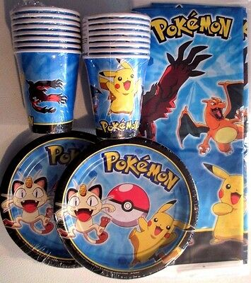 POKEMON Pikachu & Friends Disney Birthday Party Supply w/Plates,Cups,Tablecover