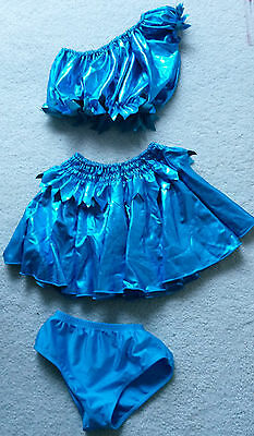 Childrens Large Size 3 Piece Blue Shiny Dance Costume: Skirt, Bloomers & Top