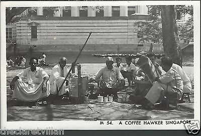 Singapore Coffee Hawker  Plain backed 1950s Unposted Real Photograph