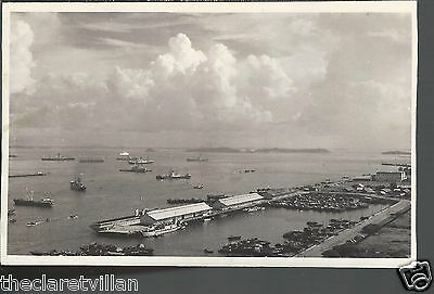 Singapore view from top Asia Insurance Building 2  docks boats ships 1950s RP
