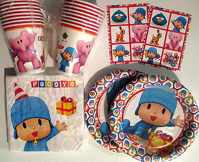 POCOYO - Birthday Party Supplies Set Pack w/ Plates,Napkins, Cups & Stickers !!