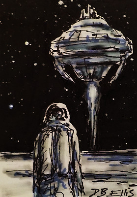 TAKEOFF original sketch card, aceo, science fiction illustration, space art