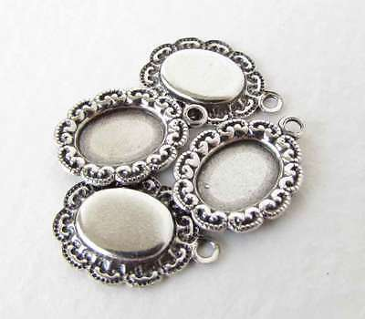 Filigree Setting Antique Silver Vintage Style Cameo Cabochon Bezel 8x6mm