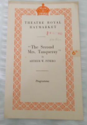 THE SECOND MRS. TANQUERAY.  Theatre Royal, Haymarket.  1950 theatre programme