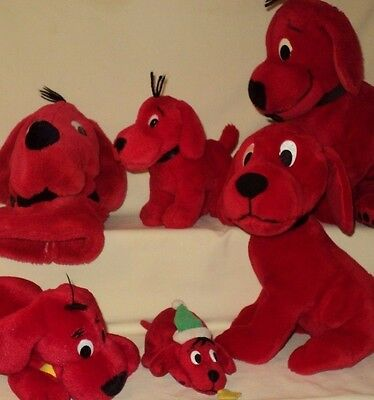 Clifford the Big Red Dog LOT OF 6 Plush Dogs & Puppet