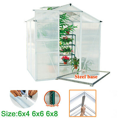 Clear Polycarbonate GrowHouse Clip Greenhouse Aluminium With Foundation Base