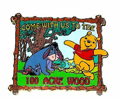LE Disney Auctions Pin✿Winnie Pooh 100 Acre Wood Come With Us Eeyore Travel Post