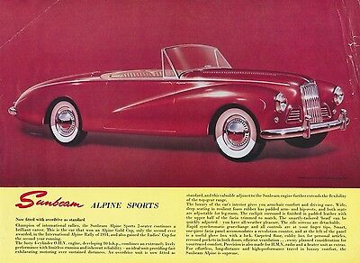 Sunbeam Alpine Sports Brochure 1950s