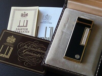 Dunhill Rollagas Lighter-Black Lacquer with Gold Trim-Boxed-Very Good Condition