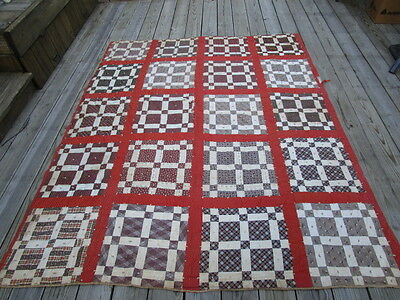 Early Antique Patchwork Quilt Top ~ Brown Orange Calico Plaid Prints