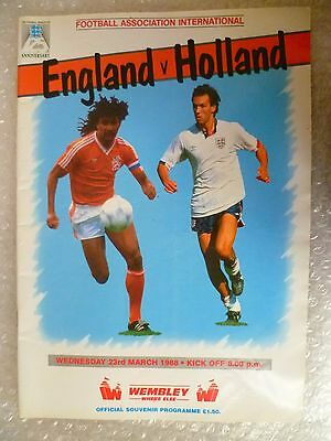 1988 Official Souvenir Programme ENGLAND v HOLLAND, 23rd March