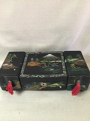 Japanese Black Lacquer Hand Painted Jewelry Music Box Mother of Pearl Inlay Mt.