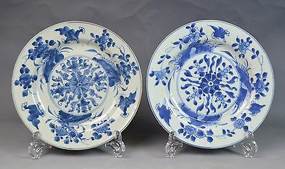 2 Chinese Export Blue and White Porcelain Plates