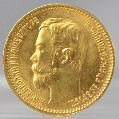 1902 Russia 5 Roubles Gold Coin Nicholas II Russian Empire Uncirculated