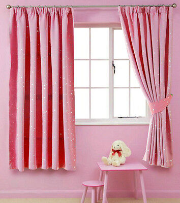 Childrens Curtains Blackout Pink Thermal Pencil Pleat Kids Bedroom 90'' x 72''