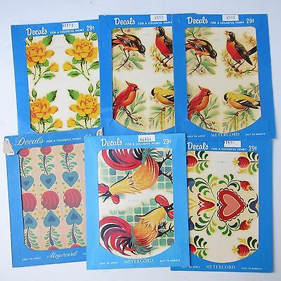 Vintage Meyercord Decals Roosters Roses Flowers Floral Mid Century Lot 6 Package