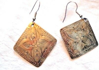 """Vintage Etched Silver Plate Large Diamond Shaped Dangle Pierced Earrings 2  1/4"""""""