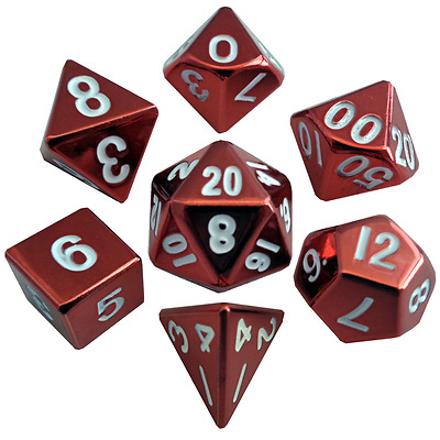 Metallic Dice Games - 16mm Red Painted Metal Polyhedral Dice  (Set of 7)