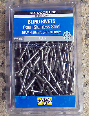 Blind Rivets Open Stainless Steel OTTER 100X 6.6 dia 4.8mm,grip 9.6mm FREE POST