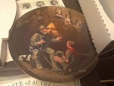 1- Bradford Exchange Norman Rockwell THE OLD SCOUT Plate lot 5a