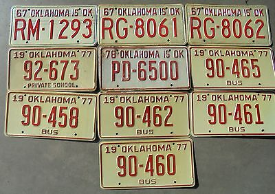 Vintage Lot Of 10 1970's Oklahoma License Plates