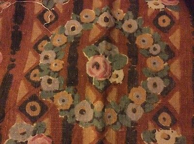 French Art deco curtains drapes linen roses  1920s 1930s