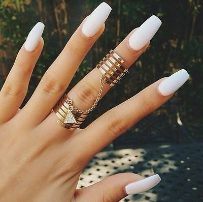 matte white square hand painted false nails (coffin square oval)