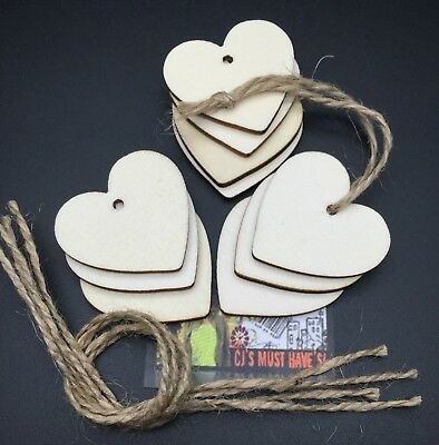 ✿ 10 Wood Love Hearts Gift Jar Tags Labels Decorations Untreated & Jute String